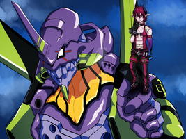 Dio and Unit 01 by Nanakyuubi1