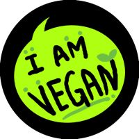 i am vegan button design by walaoeeee