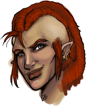 Sketch- Vernne the Half-Orc by DangerWench
