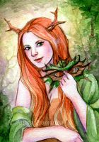 Lady of the Forest ACEO by JannaFairyArt