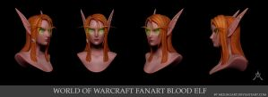 WOW FanArt Blood Elf Sindel 3D Portrait by MizukoArt