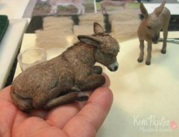Dollhouse Miniature Sleeping Donkey - 2010* by Pajutee