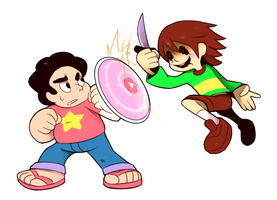 steven vs chara by Cylent-Nite