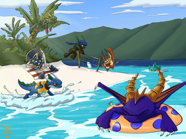 Skylanders at the beach by Killishandra