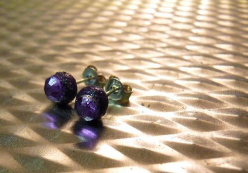 Purple Sparkly Stud Earrings by Divulged