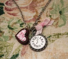 Pink Alice In Wonderland Necklace by BrysheyrasGifts