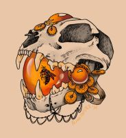Amber Cat Tattoo Flash by blindthistle
