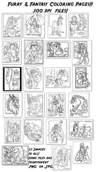 Furry and Fantasy Coloring Book Pages! by lady-cybercat