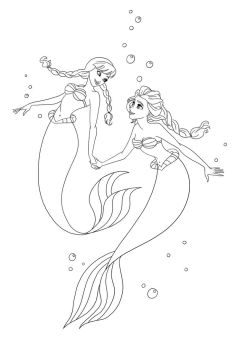 Anna and Elsa as Ariel I - Lineart by Paola-Tosca