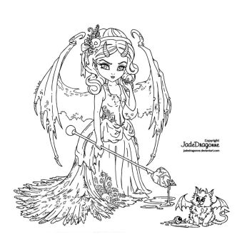 Victorian Succubus - Lineart by JadeDragonne