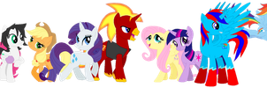 The Mane 6 and JTE Gang Together by CryoflareDraco