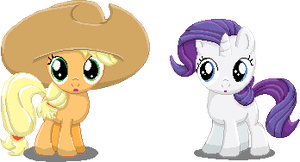 Filly Applejack and Rarity by RockingScorpion