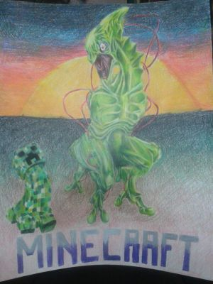 Minecraft - Creeper (COLORED PENCIL) by DeviantDolphinART