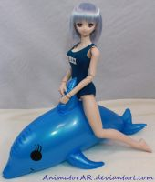 Rei Riding a Dolphin by AnimatorAR