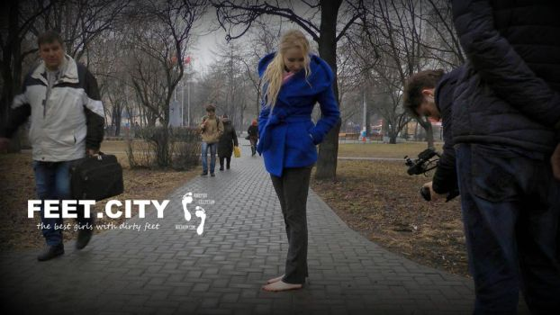 Polina walks barefoot in winter for Russian TV 2 B by bocukom