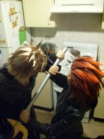 AkuRoku-FightInTheKitchen by MzMessy