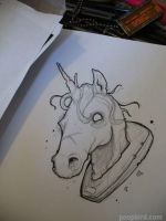 unicorn line drawing by poopbird