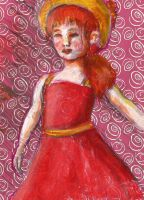 Small girl in red dress by rainismysunshine