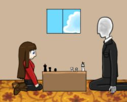Chess with Slender Man by FableWing