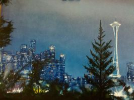 Seattle Space Needle Glowing by KaptainMyke