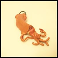 Orange Squid Pendant by KimsButterflyGarden
