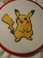 Pikachu Cross Stitch by Emmajb