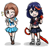 Mako and Ryuko sketches by CaptainLemmo