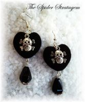 Gothic earrings 'Velvet heart' by TheSpiderStratagem