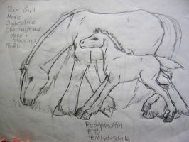 Sketch of Poor Girl and Foal by Dhria