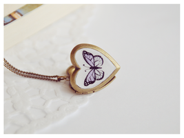 Hand Painted Butterfly Locket by Leviana