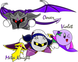 Gift Art: Meta Knight, Violet and Oover by AssassinKnight-47