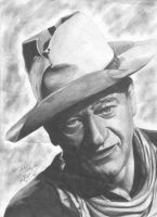 John Wayne portrait by RogueDerek