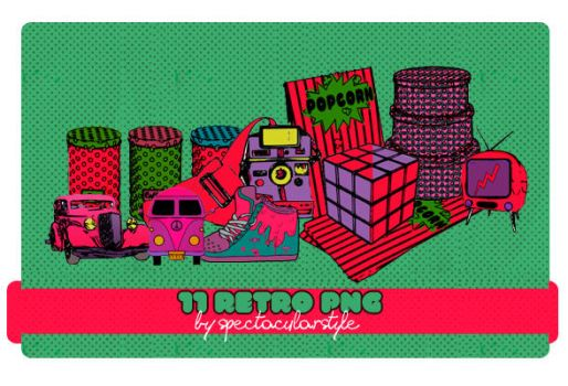 stuff retro png set 03 by spectacularstyle