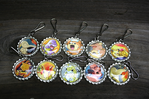 Pokemon Bottle Cap Keychains 3 by MythicalFolk