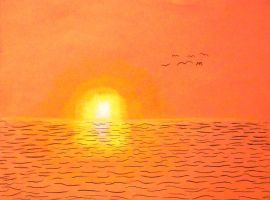 Background Art, Ocean Sunset by Supajames1