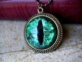 Green Scale Dragon Eye Pendant by LadyPirotessa