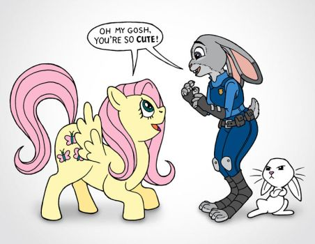 Fluttershy Meets Judy Hopps by JohnRaptor