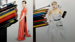 Emma Watson and Jennifer Lawrence at Golden Globes by Williaaaaaam
