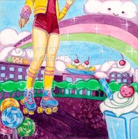 Kawaii World roller skater by candcfantasyart