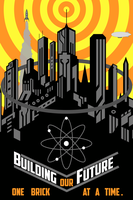 Building Our Future Retro Futuristic Poster by LordLibidan