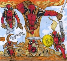 DEADPOOL CORPS six sketch card puzzle commission by mdavidct