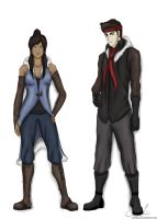 Korra and Mako, winter wardrobe. by artissx