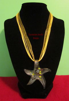 Golden Ribbon Starfish Necklace by BloodRed-Orchid