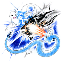 Dewgong vs. Dragonair by JA-punkster