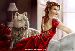 Commission_Red Queen and Wolf by Noive