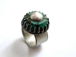 Ornate Turquoise Ring - View 2 by silver-zaira