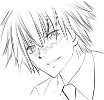 Usui Blushes Lineart::.. by InitiallyBones