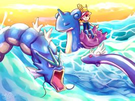 The boy riding Lapras by Pcat007