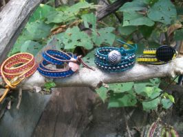 Hogwarts House colors wrap bracelets by BlueberryCrazy