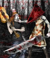 pyramid head vs buckethead by sierra-f00